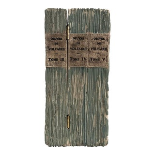 Faux Distressed Resin Book Box - Deuvre De Voltair - Tome I II III For Sale