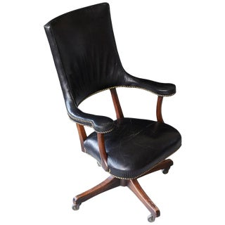 Yale Burge High Back Leather and Walnut 'Banker's' Chair