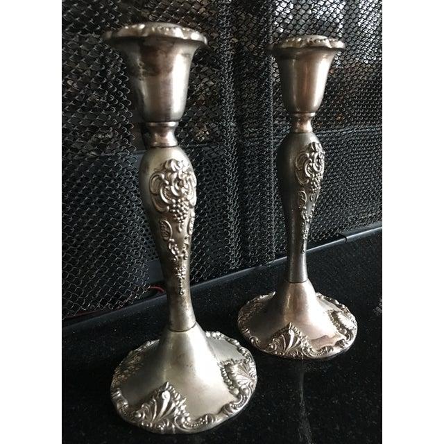 Vintage Godinger Silverplate Candlesticks - A Pair - Image 2 of 5
