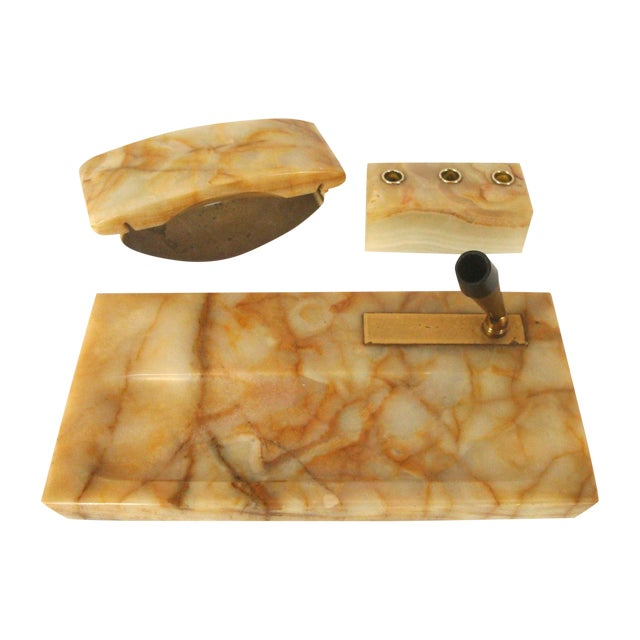 Vintage Onyx Stone Office Desk Accessories, Set of 3 For Sale