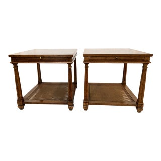 Mid-Century Heritage Fruitwood & Cane Side Tables - A Pair