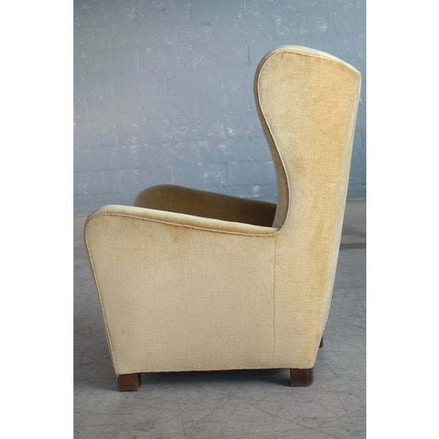 Fritz Hansen Model 1672 Highback Mohair Lounge Chair Danish Midcentury 1940's For Sale - Image 10 of 14