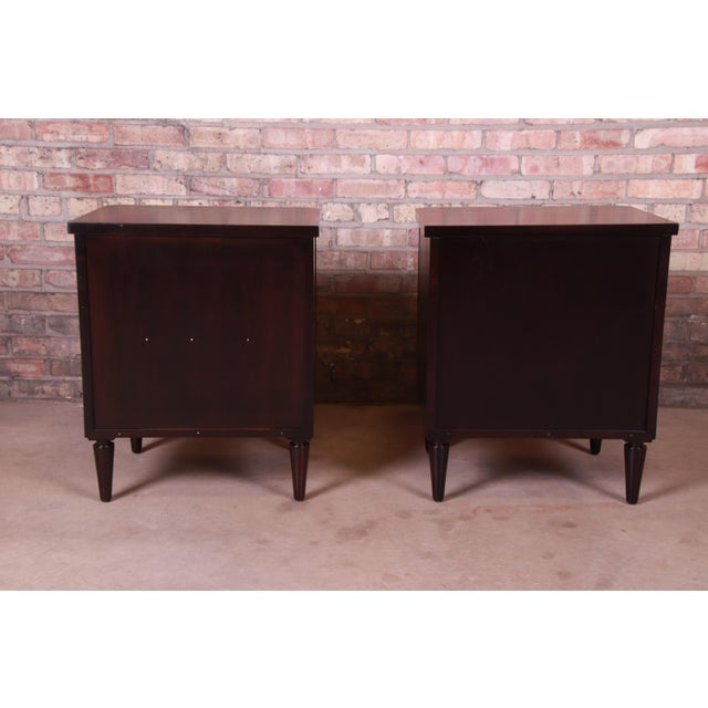 Robsjohn-Gibbings for Widdicomb Mid-Century Modern Walnut Nightstands, Newly Refinished For Sale - Image 11 of 13