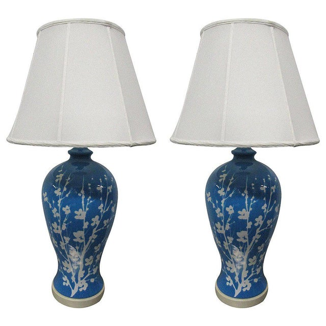 Pair Blue Ceramic Floral Lamps For Sale In New York - Image 6 of 6