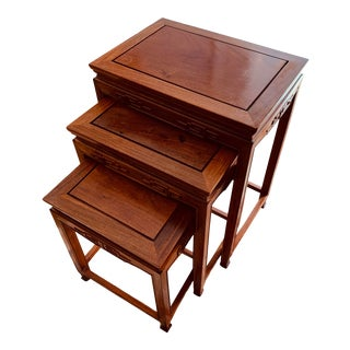 Chinoiserie Rosewood Nesting Tables - Set of 3 For Sale
