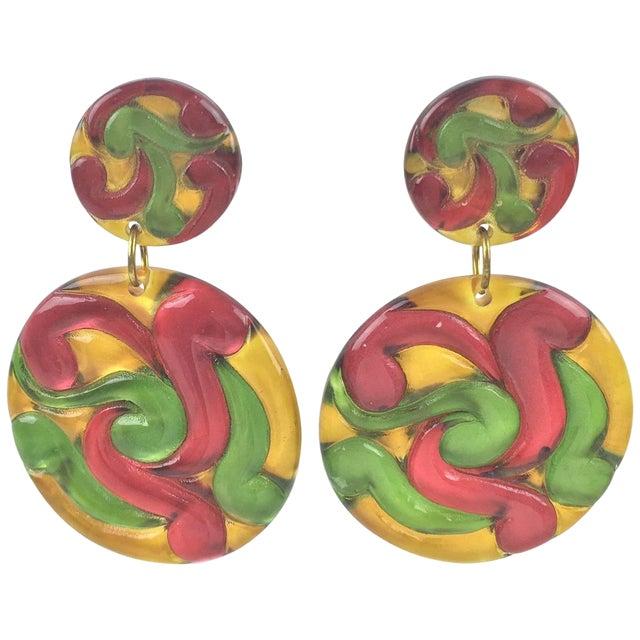 Dangling Multicolor Huge Disk Lucite Clip on Earrings For Sale