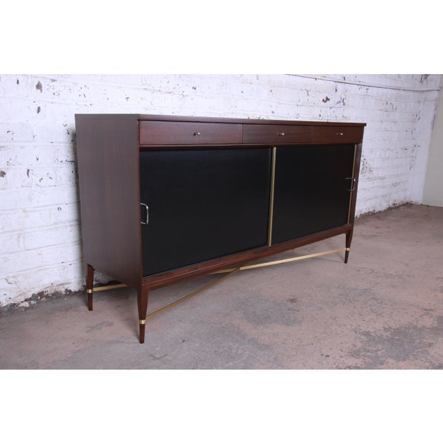 Calvin Furniture Paul McCobb Calvin Group Mahogany and Brass Credenza For Sale - Image 4 of 13