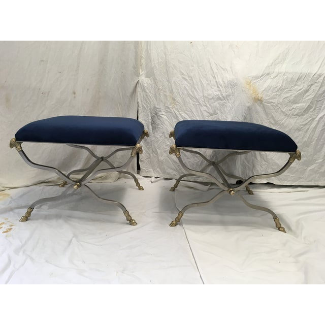Italian Steel & Brass X Base Stools, a Pair For Sale - Image 12 of 12