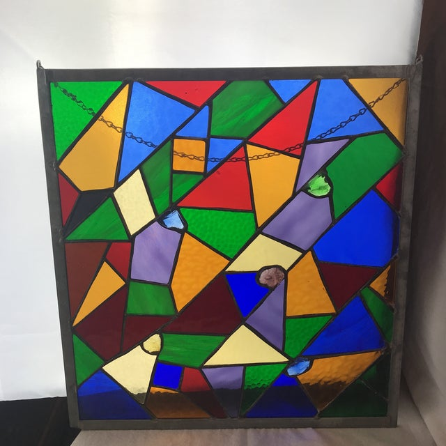 Beautiful rainbow stained glass in square stainless steal frame and projecting crystals