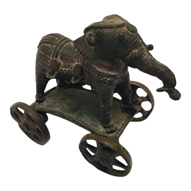 Antique Cast Bronze Temple Toy Elephant on Wheels India For Sale