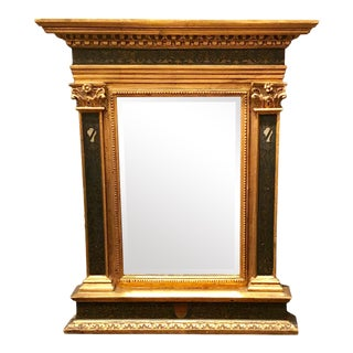 Vintage Italian Renaissance Style Carved Giltwood & Painted Mirror For Sale