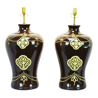 Large Scale Ginger Jar Style Jamie Young Ceramic Table Lamps - a Pair For Sale