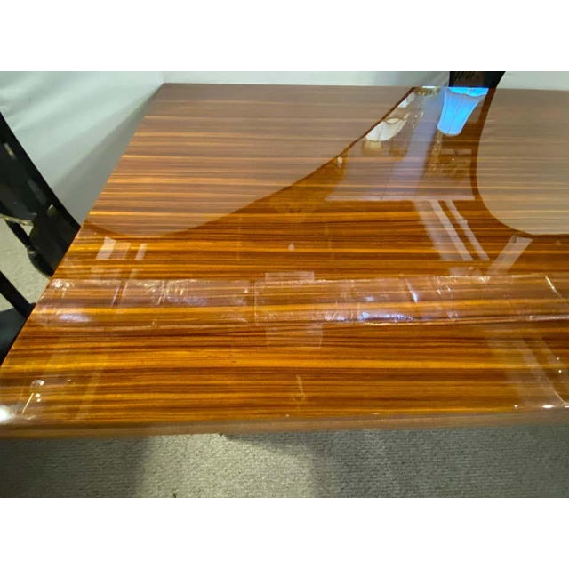Lorin Marsh Dining Conference Table Smorgasbord Lacquered Zebra-Wood and Brass For Sale - Image 9 of 12