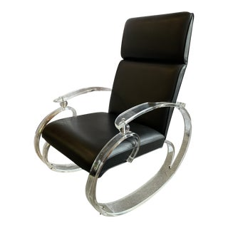 1970s Glam Lucite Rocking Chair For Sale