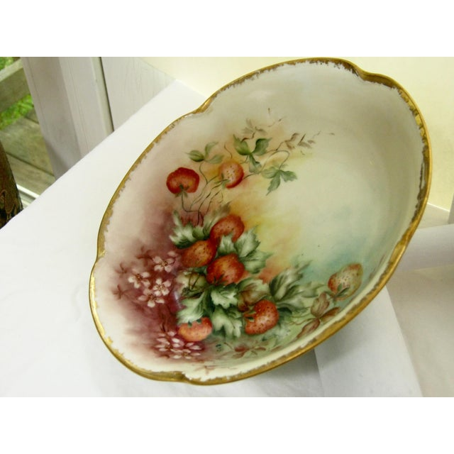 Antique Bavarian Strawberry Hand Painted Gilded Bowl For Sale - Image 4 of 5
