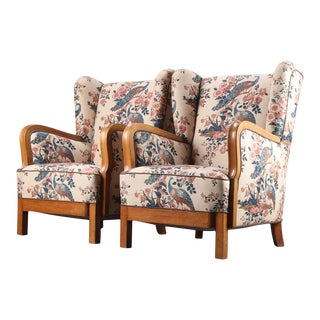 Mid 20th Century Wingback Armchairs - a Pair For Sale