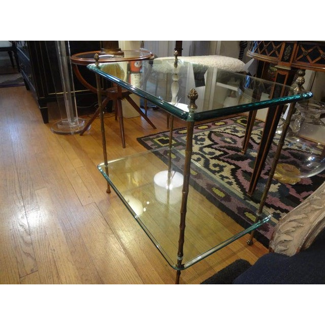 Italian Bronze and Glass Two Tiered Table For Sale - Image 10 of 12