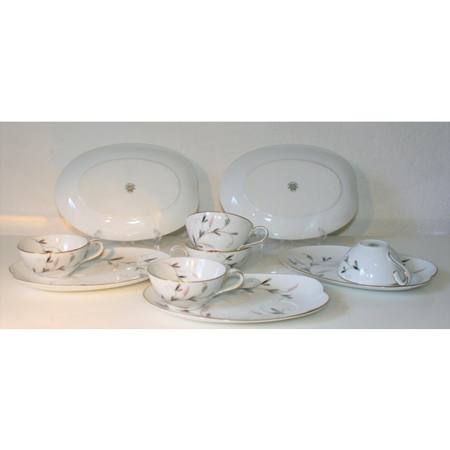 Vintage Noritake China Oval Snack Plates With Cups - 10 Pc. Set For Sale In West Palm - Image 6 of 9
