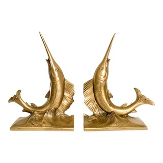 Gold Fish Nautical Bookends, a Pair