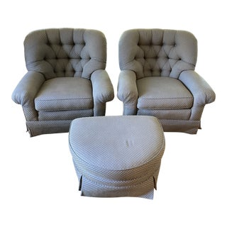 Norwalk Chaucer Club Chairs & Ottoman For Sale