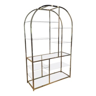 Design Institute of America Dia Milo Baughman Vintage Brass Etagere Shelf For Sale