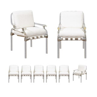 1985 Staggering Set of Eight Signed Lucite Dining Chairs by Jeff Messerschmidt For Sale