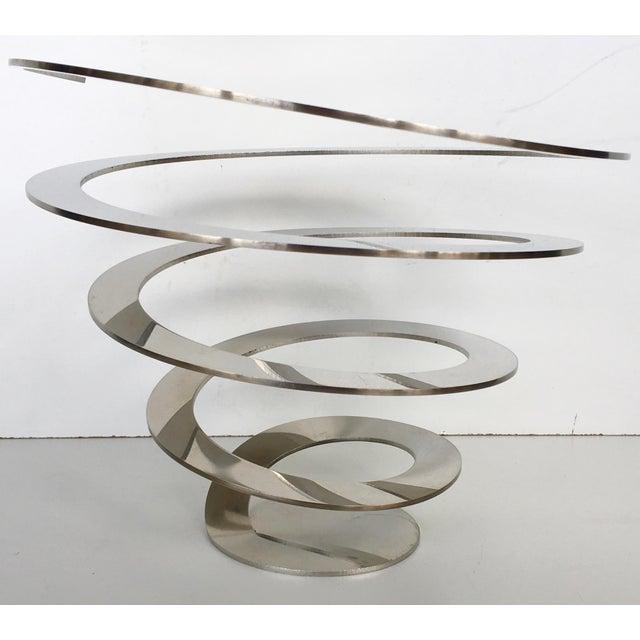 Danish Modern Steel Swirl Fruit Bowl / Centerpiece - Image 3 of 6
