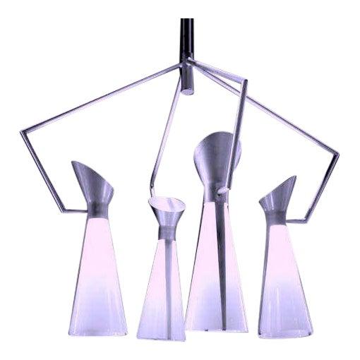 Mid Century Extreme Modernism Victor Gruen for John Lautner Chandelier Hanging Lamp For Sale