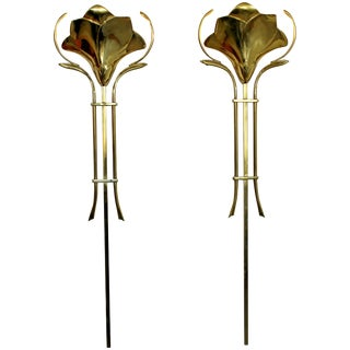 Mid-Century Modern Frederick Cooper Pair of Hanging Brass Wall Sconces, 1960s For Sale