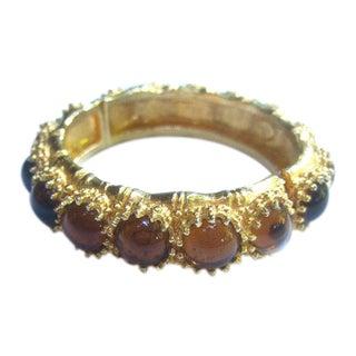 Ken Lane Amber Color Glass Cabochon Bracelet For Sale