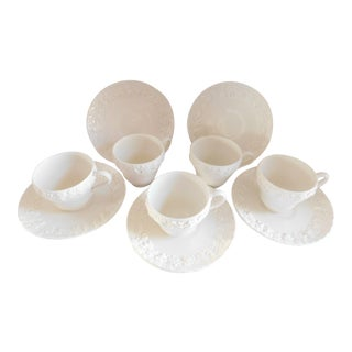 Cream Wedgwood of Etruria and Barlaston Queensware England Demi-Tasse Cups & Saucers - Set of 5 For Sale