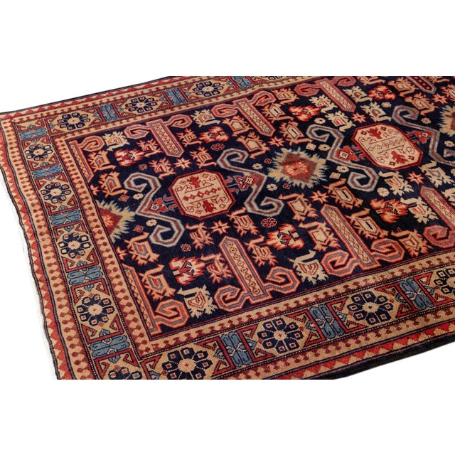 """Blue Vintage North West Persian Rug, 4'7"""" X 10'1"""" For Sale - Image 8 of 9"""