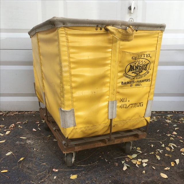 Industrial Yellow Dandux Laundry Cart For Sale - Image 3 of 6