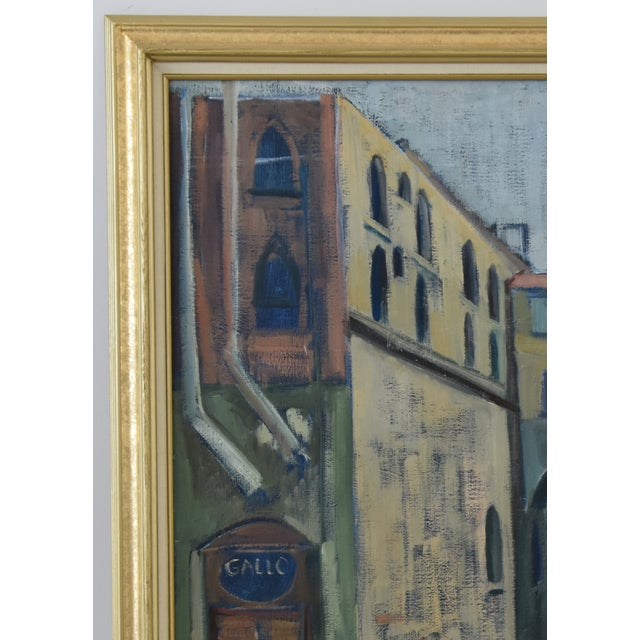Mid 20th Century Midcentury Vintage European Village Street Oil Painting For Sale - Image 5 of 10