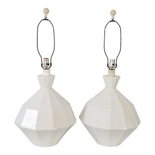 Italian Postmodern / Geometric White Ceramic Table Lamps - a Pair For Sale