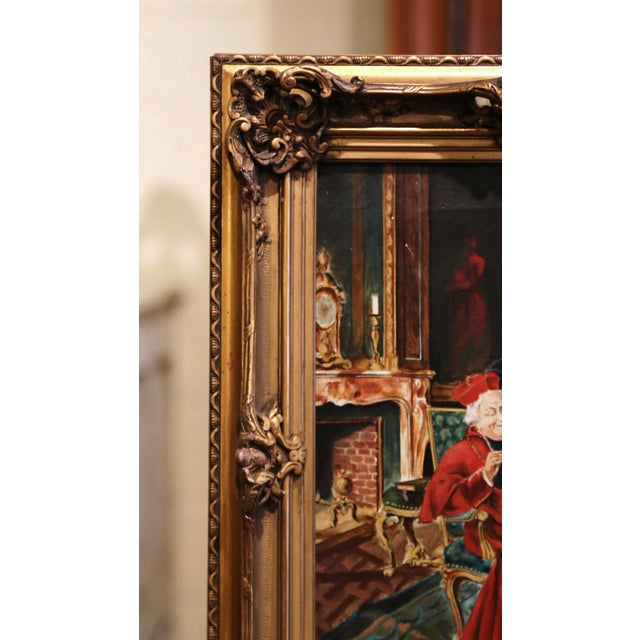 19th Century French Priest Oil Painting in Carved Giltwood Frame Signed M. Valle For Sale - Image 4 of 9