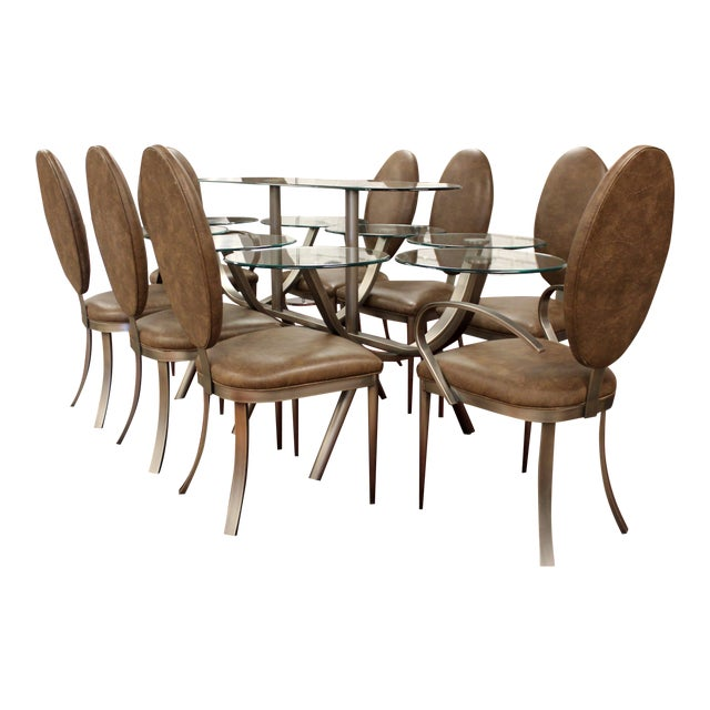 Contemporary Modern Dia Circle of Life Dining Set Table Chairs 1980s Glass Steel - Set of 9 For Sale