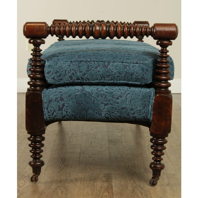 Sky Blue Antique 19th Century Bobbin Turned End of Bed or Window Bench For Sale - Image 8 of 13