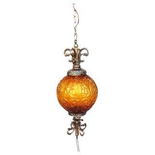 Midcentury Vintage Amber Pendant Lamp
