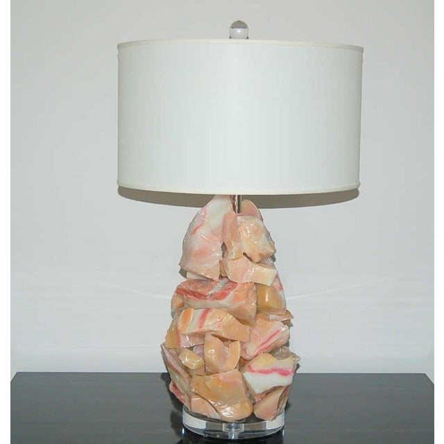 Contemporary Glass Rock Table Lamps by Swank Lighting Peach Pink For Sale - Image 3 of 8