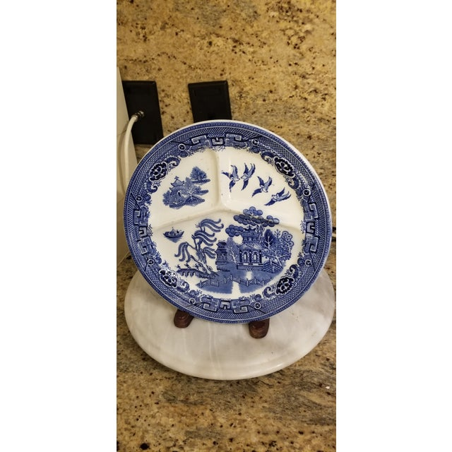 Late 19th Century Holland Blue and White Maastricht 3 Part Ironstone Plate For Sale - Image 5 of 8