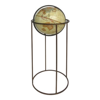 Mid-Century Modern Replogle Standing Globe on and Iron Stand For Sale