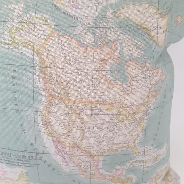 North America Map Square Pillow For Sale - Image 9 of 12