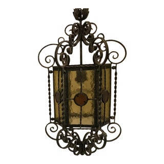 Spanish Mission Wrought Iron Stained Glass Celing Pendant Lantern Chandelier For Sale