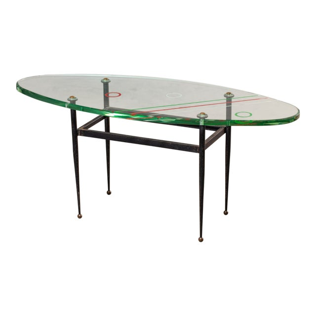Vintage 1960s Italian Oval Coffee Table with Painted Glass Top For Sale