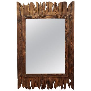 Moroccan Aged and Repurposed Wooden Mirror For Sale