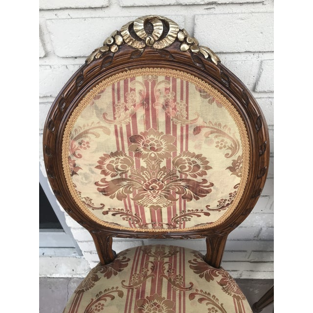 Set of 4 Vintage Beige & Burgundy French Dining Chairs For Sale - Image 12 of 13