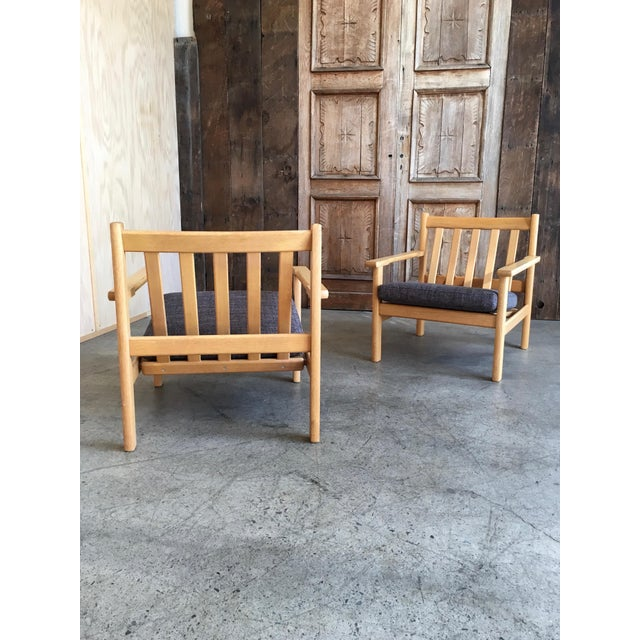 Mid-Century Modern Hans Wegner Oak Lounge Chairs - a Pair For Sale - Image 3 of 10