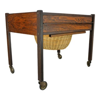 Danish Modern Square Leg Sewing Cart in Rosewood For Sale