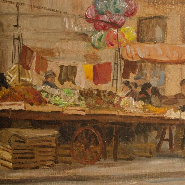 "1940s 1940s ""Market in Milan"" Street Scene Oil Painting by Joshua Felise Ziro Brevio For Sale - Image 5 of 13"